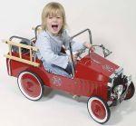 Tretauto Feuerwehr  Kipper - Kipplastwagen groß aus Holz mit kippbarer Mulde und Gummibereifung...