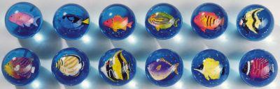 Flummy mit 3D Fischeinschluß Flummy mit 3D Fischeinschluß Jonglierbälle - 3er Set Regenbogenball / Gummib...