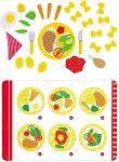 Mittagessen à la carte mit Menükarte / Speisekarte, 36-teilig  Kaufmannsladen Lollies / Lutscher aus Holz - 6er Set Obst-Set aus Holz im K...