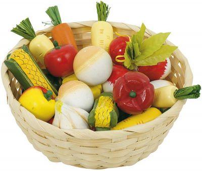 Gemüse-Set aus Holz im Korb, 17-teilig Gemüse-Set aus Holz im Korb, 17-teilig Wurstaufschnitt-Set mit Tablett, 11-t...