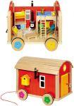 Puppenbauwagen mit Zubehör, 23-teilig  Puppenhaus groß mit 3 Etagen 65 x 35 x 87,5 cm Puppenhaus klein Farmhaus im...