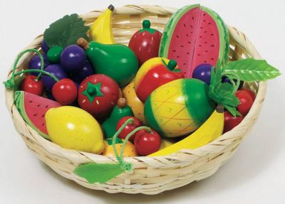Obst-Set aus Holz im Korb, 23-teilig Obst-Set aus Holz im Korb, 23-teilig Wurstaufschnitt-Set mit Tablett, 11-tei...