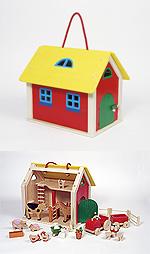 Farmhaus im Koffer - Kofferfarmhaus mit Zubehör  Puppenhaus groß mit 3 Etagen Puppenhaus klein Farmhaus im Koffer - Kofferfa...