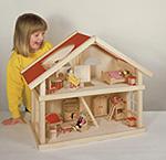 Puppenhaus klein  Puppenhaus groß mit 3 Etagen 65 x 35 x 87,5 cm Puppenhaus klein Farmhaus im...