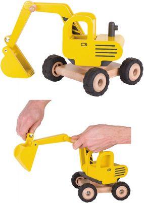 Bagger groß aus Holz mit Gummibereifung Bagger groß aus Holz mit Gummibereifung Verkehrszeichen-Set Straßenverkehr -...