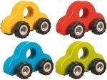 Holz-Greifauto mit Gummibereifung per Stück  Signalkelle grün / rot Traktor mit Anhänger aus Holz in rot oder grün mi...