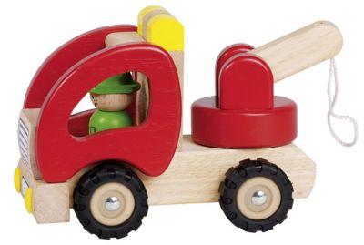 Abschleppwagen aus Holz mit Gummibereifung Abschleppwagen aus Holz mit Gummibereifung Kipper - Kipplastwagen groß aus H...