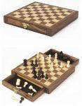 Magnetisches Schachspiel mit Schubladen  Spielebox - Schach Dame Mühle Schachspiel in Holzklappkassette - 29,9 x 29,...