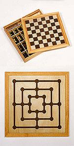 Spielebox - Schach Dame Mühle  Spielebox - Schach Dame Mühle Schachspiel in Holzklappkassette - 29,9 x 29,...