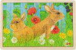 Einlegepuzzle Kaninchen im Garten 24-teilig  Einlegepuzzle - Alphabet ABC Einlegepuzzle / Anlegepuzzle Tierkreis Einlege...