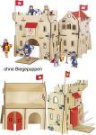Ritterburg aus Holz  Puppenhaus groß mit 3 Etagen 65 x 35 x 87,5 cm Puppenhaus klein Farmhaus im...