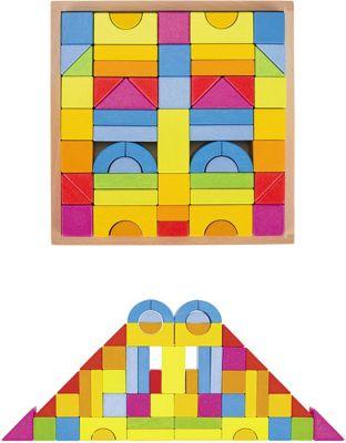 Bausteine Regenbogen im Holzkasten mit 57 Teilen Bausteine Regenbogen im Holzkasten mit 57 Teilen Schlossbaukasten Holzbauste...