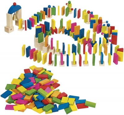 Domino-Rallye-Set mit 247 Teilen Domino-Rallye-Set mit 247 Teilen Schlossbaukasten Holzbausteine, natur Domin...