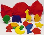 Formen-Ertast/Erfühl-Memo mit 12 Figuren im Baumwollbeutel  Holzspiel - Mary`s Garten Memo Memo Oberflächen erfühlen mit Abtastbrett An...