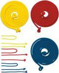 Springseil aus Textil - gelb, rot oder blau per Stück  3er Kehr-Set blau mit Besen, Schaufel und Handfeger Kinderbesen mit Naturbo...