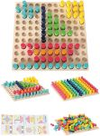 Farbensteckspiel mit 121 Holzstäbchen und Vorlagen  Sortierspiel Farben und Formen Motorikspiel Schmucksteine 40 x 40 cm Motori...