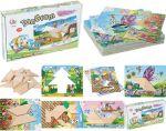 Tangram-Spiel mit 30 bunten Bildvorlagen und 14 Spielsteinen  Zahnradspiel mit Vorlagen Farbensteckspiel mit 121 Holzstäbchen und Vorlage...