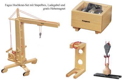 fagus® Hochkran-Set mit Stapelbox, Ladegabel + Gratis-Hebemagnet fagus® Hochkran-Set mit Stapelbox, Ladegabel + Gratis-Hebemagnet fagus® Unim...