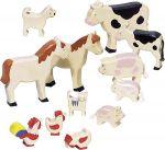 Bauernhoftiere-Set natur, bunt bemalt, 12-teilig  Kleine Arche Noah mit Noah, seiner Frau und Passagieren, 32-teilig Bauernho...