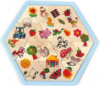 Holzmosaiklegespiel Bauernhof/Sonne Holzmosaiklegespiel Bauernhof/Sonne Einlegepuzzle - Alphabet ABC Einlegepuzz...