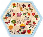 Holzmosaiklegespiel Bauernhof/Sonne  Einlegepuzzle - Alphabet ABC Einlegepuzzle / Anlegepuzzle Tierkreis Einlege...