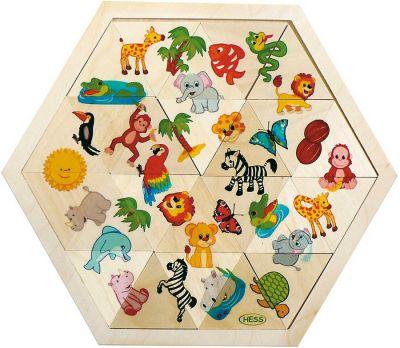 Holzmosaiklegespiel Dschungel Holzmosaiklegespiel Dschungel Einlegepuzzle - Alphabet ABC Einlegepuzzle Zah...