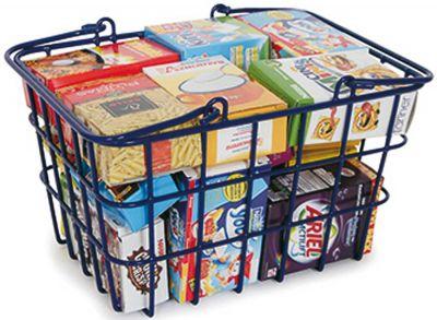 Metall-Einkaufskorb gefüllt mit Mini-Papp-Kartonagen Metall-Einkaufskorb gefüllt mit Mini-Papp-Kartonagen ...