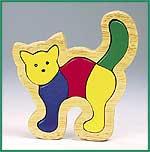 Massivholzeinlegepuzzle Katze 5-teilig  Massivholzeinlegepuzzle Drei Bären 16-teilig Massivholzeinlegepuzzle Hahn 6...