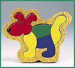 Massivholzeinlegepuzzle Hund 5-teilig  Massivholzeinlegepuzzle Drei Bären 16-teilig Massivholzeinlegepuzzle Hahn 6...