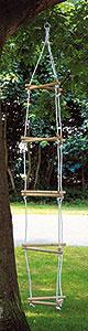 Strickleiter dreisprossig - Dreieck  3er Kehr-Set blau mit Besen, Schaufel und Handfeger Kinderbesen mit Naturbo...